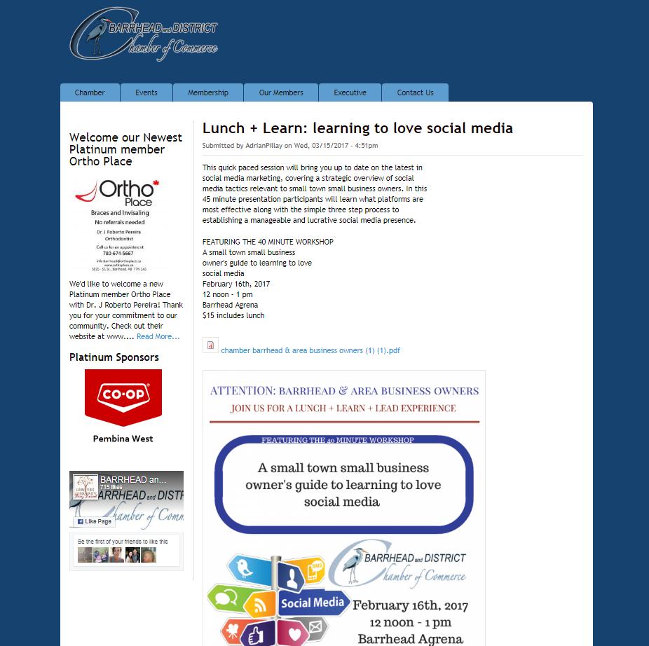 Chamber Website Screenshot