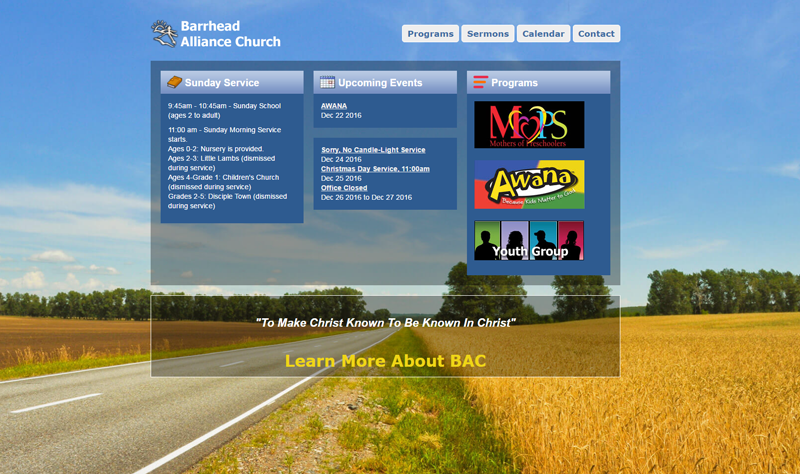 church website screenshot