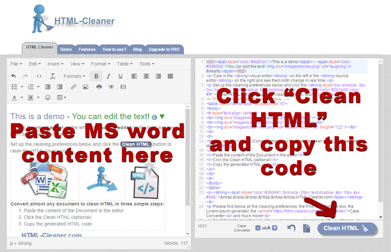 Copy and past MS word to HTML