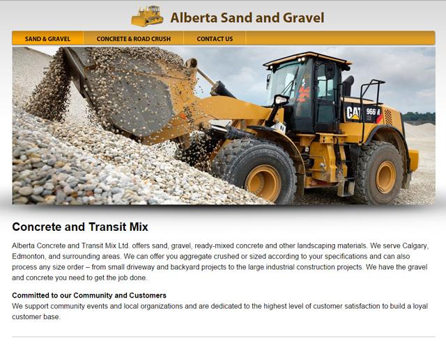 sand & gravel website screenshot