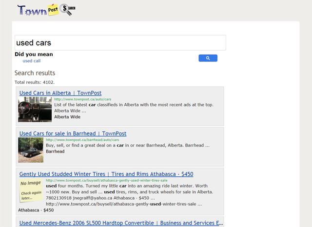 Alberta Search Engine Screenshot
