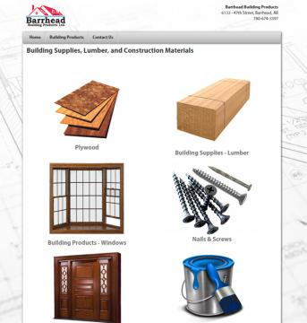 building products website screenshot