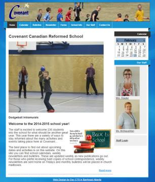 Covenant school website screenshot