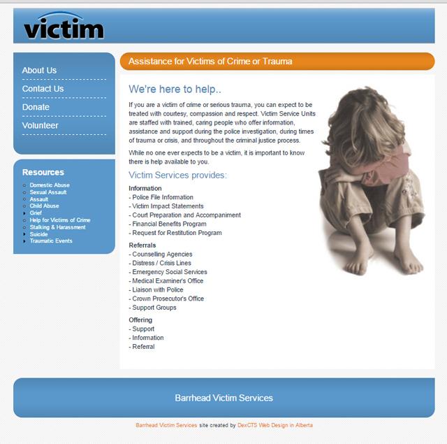 victim services website screenshot