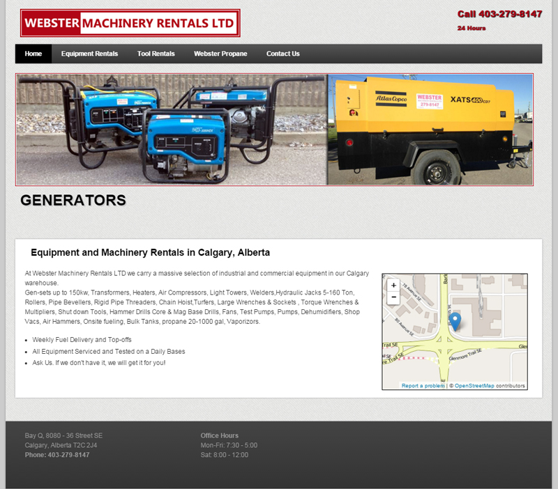 Equipment Rentals Website Example
